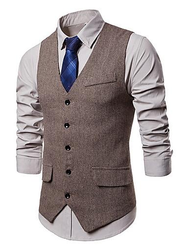 voordelige Herenblazers & kostuums-Heren Vest, Effen V-hals Polyester Zwart / Grijs / Khaki