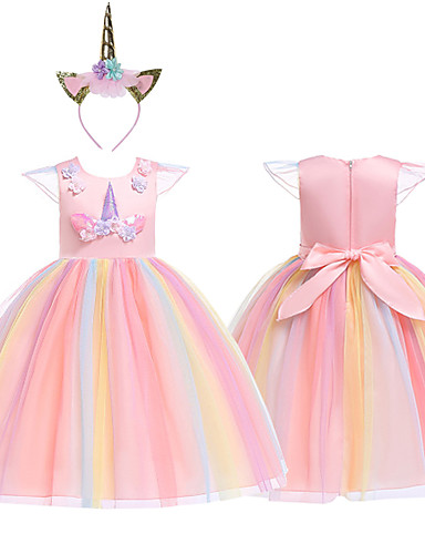 cheap Cosplay & Costumes-Princess Unicorn Cosplay Costume Masquerade Flower Girl Dress Kid's Girls' A-Line Slip Cosplay Halloween Christmas Halloween Carnival Festival / Holiday Tulle Cotton Purple / Yellow / Pink Carnival