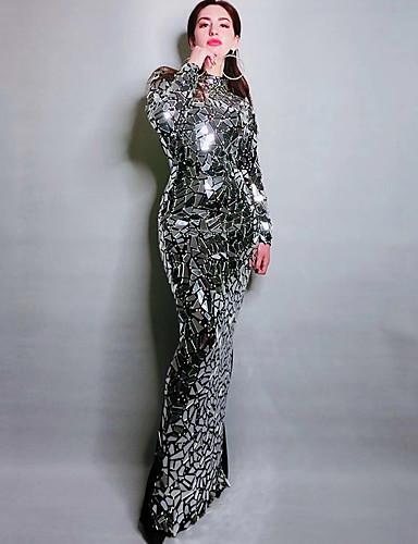 voordelige Shall We®-Exotische Dancewear Strass bodysuit / Club kostuum Dames Prestatie Spandex Kristallen / Bergkristallen / Pailletten Lange mouw Kleding