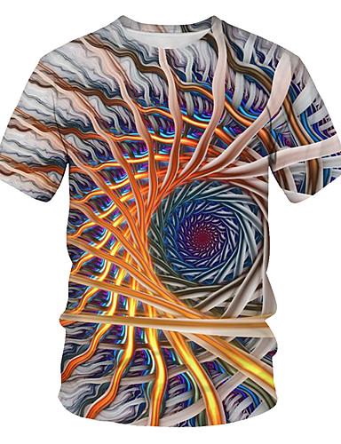 billige Dametopper-Løstsittende T-skjorte Dame - Fargeblokk / 3D / Grafisk, Trykt mønster Gatemote / overdrevet Klubb Regnbue