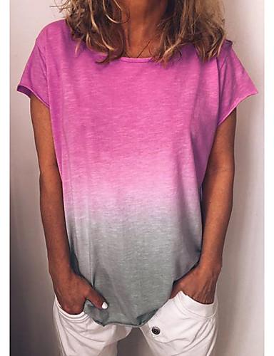 billige T-skjorter til damer-Store størrelser T-skjorte Dame - Fargeblokk, Trykt mønster Grunnleggende / Gatemote Gul