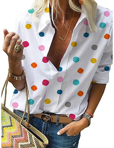 cheap ▶Limited Time Sales◀ Women's Tops-Women's Plus Size Polka Dot Print Shirt Street chic Casual Street Shirt Collar White / Blue / Red / Gray
