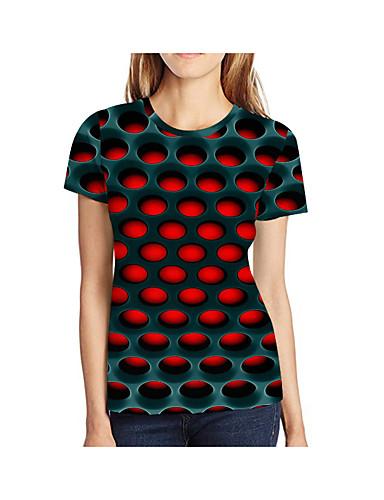 billige Dametopper-Store størrelser T-skjorte Dame - Geometrisk / 3D / Grafisk, Trykt mønster Rød