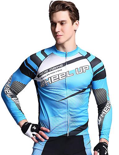 povoljno Odjeća za vožnju biciklom-Wheel up Muškarci Dugih rukava Biciklistička majica s tajicama Navy Plava Geometic Bicikl Sportska odijela UV otporan Prozračnost Ovlaživanje Quick dry Sportski Geometic Brdski biciklizam biciklom na