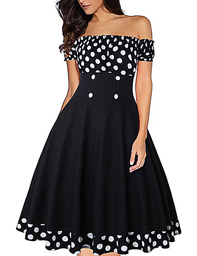preiswerte Getupfte Kleidung-Damen Elegant A-Linie Kleid Punkt Knielang Schulterfrei