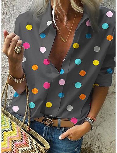 billige Dametopper-Skjortekrage Store størrelser Skjorte Dame - Polkadotter, Trykt mønster Gatemote Hvit