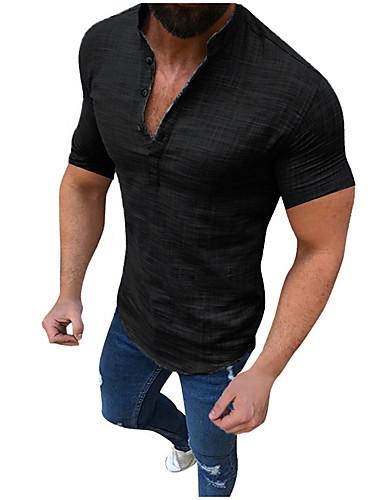 levne Pánské košile-Pánské - Jednobarevné Základní EU / US velikost Košile, Patchwork Podšívka Stojáček Černá / Krátký rukáv