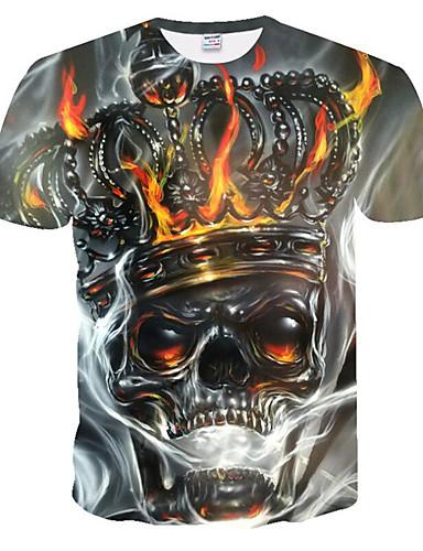 cheap Men's Tees & Tank Tops-Men's Plus Size T-shirt 3D Graphic Skull Print Short Sleeve Tops Rock Punk & Gothic Round Neck Gray
