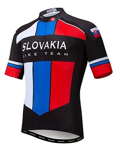 povoljno Odjeća za vožnju biciklom-21Grams Slovačka Državne zastave Muškarci Kratkih rukava Biciklistička majica - Sky Blue+White Bicikl Majice UV otporan Prozračnost Ovlaživanje Sportski Terilen Brdski biciklizam biciklom na cesti