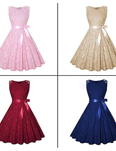 preiswerte Firmenfeier-A-Linie Schmuck Knie-Länge Spitze Ausgeschnitten Cocktailparty Kleid mit durch LAN TING Express