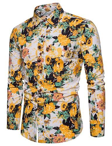 levne Pánské košile-Pánské - Barevné bloky / Grafika Klub Základní Košile, Tisk Klasický límeček Žlutá / Dlouhý rukáv