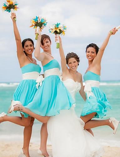 preiswerte Brautjungfernkleider-A-Linie Sweetheart Kurz / Mini Chiffon Brautjungfernkleid mit Schleife(n) / Schärpe / Band / Plissee durch JUDY&JULIA