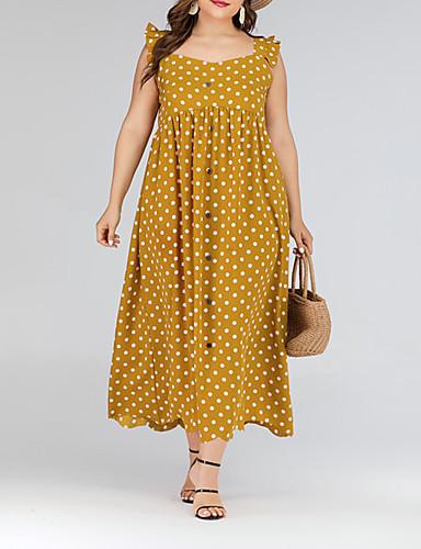 levne Šaty velkých velikostí-Dámské Základní Sofistikované Swing Šaty - Puntíky, Volány Maxi