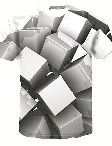 3D צווארון עגול בסיסי / סגנון רחוב טישרט - בגדי ריקוד גברים דפוס אפור / שרוולים קצרים