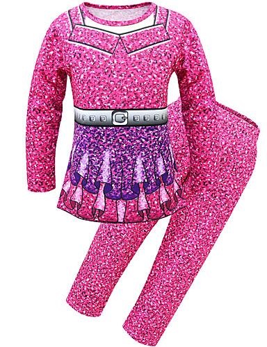 סט של בגדים כותנה שרוול ארוך קולור בלוק פעיל / סגנון רחוב בנות ילדים / פעוטות