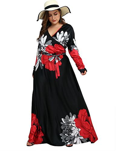 voordelige Grote maten jurken-Dames Street chic Schede Wijd uitlopend Jurk - Kleurenblok, Print Maxi