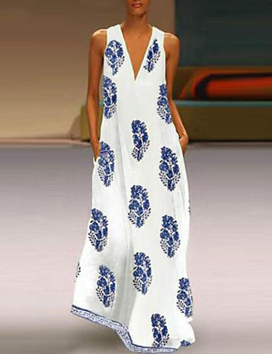 levne Maxi šaty-Dámské Větší velikosti Tunika Šaty - Etno, Tisk Maxi Do V