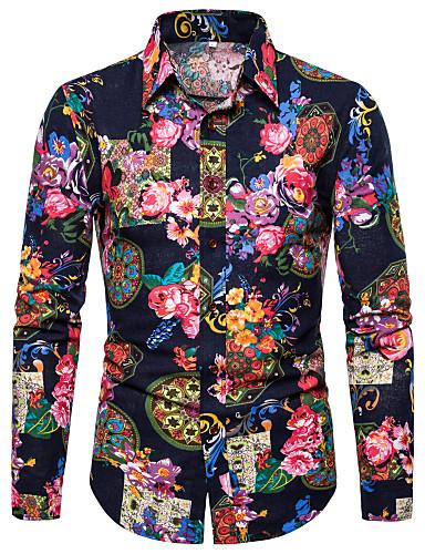 voordelige Herenoverhemden-Heren overdreven Print Overhemd Club Bloemen / Grafisch / Tribal Klassieke boord Zwart / Lange mouw