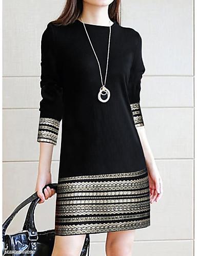 cheap Little Black Dresses-Women's Elegant Sheath Dress - Geometric Lace Black XL XXL XXXL