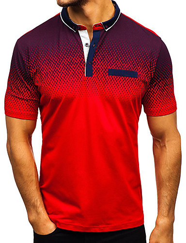 cheap Top Sellers-Men's Color Block Patchwork Slim Polo - Cotton Basic Street chic Daily Casual Shirt Collar White / Black / Blue / Red / Gray / Short Sleeve