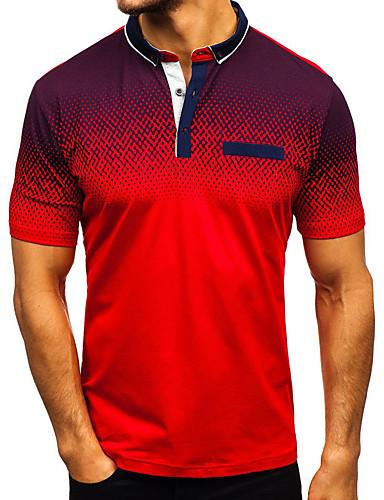 זול הנמכר ביותר-בגדי ריקוד גברים קולור בלוק טלאים רזה Polo - כותנה בסיסי סגנון רחוב יומי קזו'אל צווארון חולצה לבן / שחור / פול / אודם / אפור / שרוולים קצרים