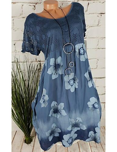 preiswerte Damen Kleider-Damen Übergrössen Etuikleid Kleid - Druck, Blumen Batik Knielang