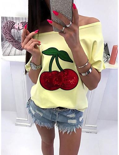 billige Dametopper-Tynn Store størrelser T-skjorte Dame - Frukt, Paljetter / Løse skuldre Hvit / Vår / Sommer / Høst