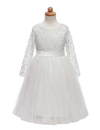 נסיכה אורך בינוני שמלה לנערת הפרחים - תחרה / טול שרוול ארוך עם תכשיטים עם תחרה / סרט / קריסטלים / אבנים נוצצות על ידי LAN TING Express