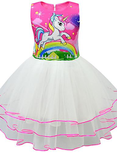 שמלה מעל הברך ללא שרוולים טלאים / אנימציה Unicorn פעיל / סגנון רחוב בנות ילדים / פעוטות