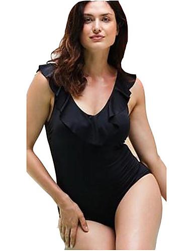 פול XXL XXXL XXXXL דפוס אחיד פרחוני, בגדי ים חלק אחד (שלם) נועזת פול שחור בסיסי בגדי ריקוד נשים