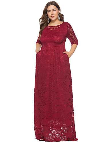 voordelige Grote maten jurken-A-lijn / Strak / kolom Met sieraad Tot de grond Kant Schoolfeest Jurk met Lace Insert door LAN TING Express