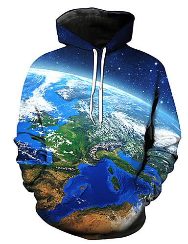 levne Pánské topy-Pánské - Barevné bloky / 3D / Grafika Základní / Přehnaný Mikiny a svetry s kapucí, Tisk Vodní modrá