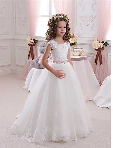 cheap Flower Girl Dresses-Ball Gown Sweep / Brush Train Wedding / Birthday / First Communion Flower Girl Dresses - Cotton / Lace / Tulle Cap Sleeve Scalloped Neckline with Bow(s) / Beading / Appliques