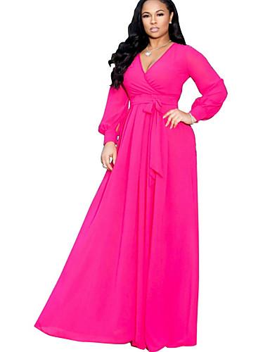 levne Šaty velkých velikostí-dámské maxi šifónové šaty hluboké v šifónové fialové fuchsie zelené s m l xl