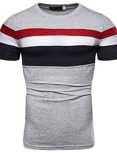 Ανδρικά Μέγεθος EU / US T-shirt Βασικό - Βαμβάκι Συνδυασμός Χρωμάτων / Μονόχρωμο Στρογγυλή Λαιμόκοψη Patchwork Γκρίζο / Κοντομάνικο