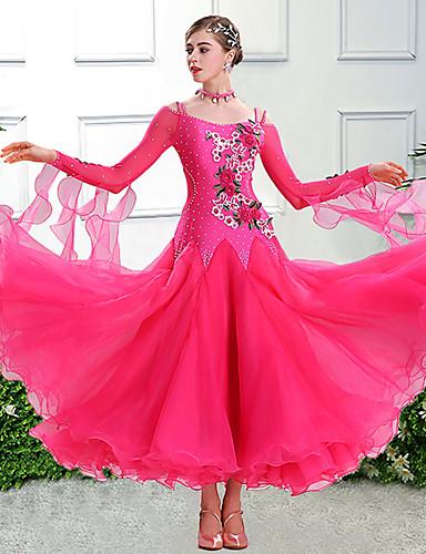 cheap Ballroom Dancewear-Ballroom Dance Dress Embroidery Appliques Split Joint Women's Training Performance Long Sleeve Spandex Organza Polyster