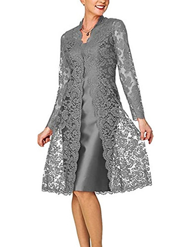 cheap Cocktail Dresses-Two Piece Elegant Grey Wedding Guest Cocktail Party Dress Scoop Neck Long Sleeve Knee Length Lace Polyester with Lace Insert 2020