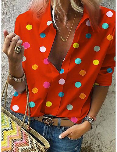 billige Dametopper-Skjorte Dame - Polkadotter, Trykt mønster Gatemote Hvit US16