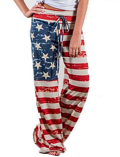 בגדי ריקוד נשים בסיסי רגל רחבה מכנסיים - פסים דגל אמריקאי אודם L XL XXL