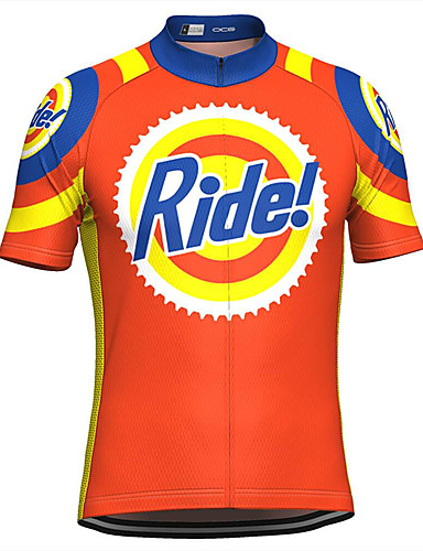 cheap Cycling-21Grams Men's Short Sleeve Cycling Jersey Summer Orange Novelty Funny Bike Top Mountain Bike MTB Road Bike Cycling UV Resistant Quick Dry Moisture Wicking Sports Clothing Apparel / Micro-elastic
