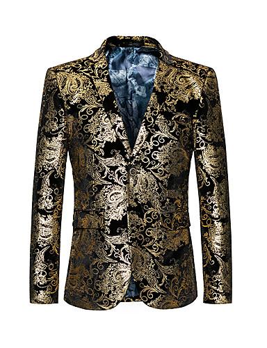 Men's Jacket Party Club Basic Vintage Regular Geometric Gold XL / XXL / XXXL