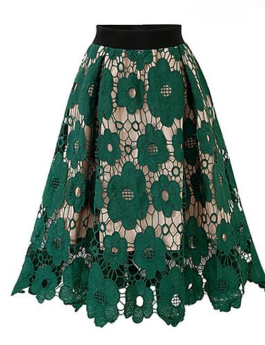 קולור בלוק - חצאיות גזרת A סגנון רחוב / מתוחכם בגדי ריקוד נשים פול שחור מידה אחת