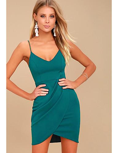 preiswerte Sexy Kleider-Damen Grundlegend Hülle Kleid Solide Übers Knie