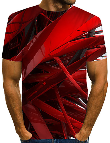 cheap Men's Tees & Tank Tops-Men's T-shirt Abstract Graphic Print Tops Street chic Exaggerated Round Neck Blue Red Blushing Pink / Short Sleeve / Summer