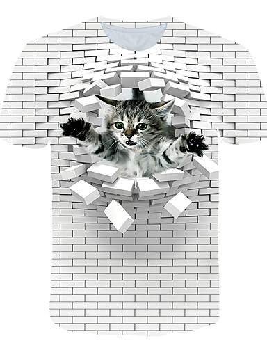 voordelige Heren T-shirts & tanktops-Heren Street chic / overdreven Print EU / VS maat - T-shirt Club / Strand Kleurenblok / 3D / dier Ronde hals Wit / Korte mouw