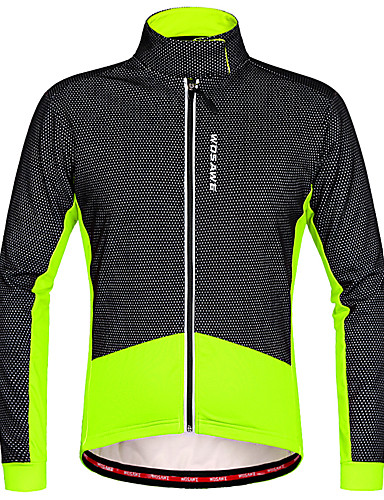 povoljno Biciklizam-WOSAWE Muškarci Biciklistička jakna Bicikl Zima Flis jakne Majice Ugrijati Vodootporni patent Sportski Poliester Runo Zima Crveno crno / Crna / Green Brdski biciklizam biciklom na cesti Odjeća