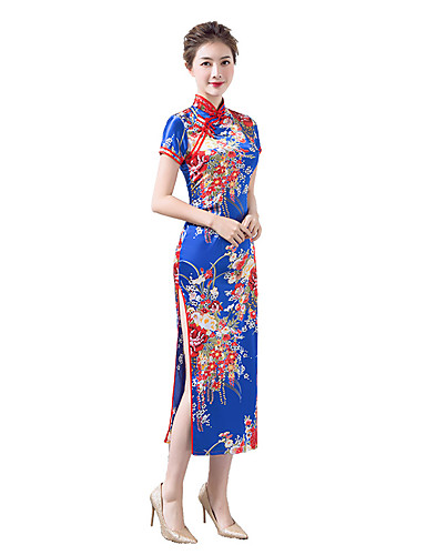 cheap Ethnic & Cultural Costumes-Adults Women's Chinese Style Dress Chinese Style Cheongsam Qipao For Party & Evening Club Uniforms 100% Polyester Midi Cheongsam