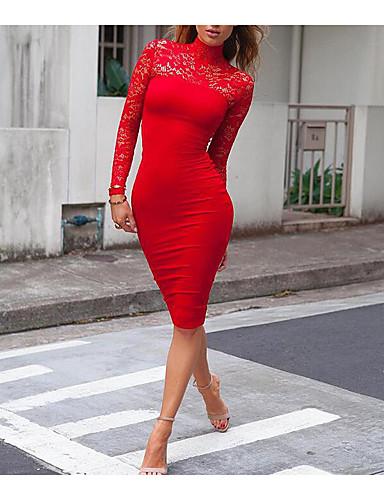preiswerte Du musst Spitze  lieben!-Damen Festtage Ausgehen Klub Bodycon Kleid Solide Midi Rollkragen Rot / Sexy / Skinny