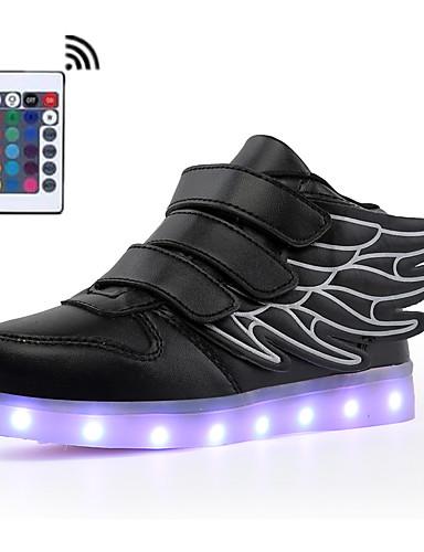 cheap Kid's Led Shoes Hot Sale-Boys' / Girls' LED / LED Shoes / USB Charging Faux Leather Sneakers LED Shoes Walking Shoes LED / Luminous White / Black / Burgundy Summer / Fall / Color Block / Rubber