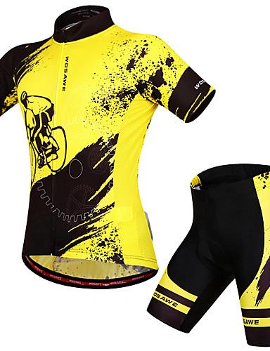 povoljno Odjeća za vožnju biciklom-WOSAWE Muškarci Žene Kratkih rukava Biciklistička majica s kratkim hlačama Yellow / Black Bicikl Biciklistička majica Sportska odijela Prozračnost Pad 3D Ovlaživanje Quick dry Anatomski dizajn